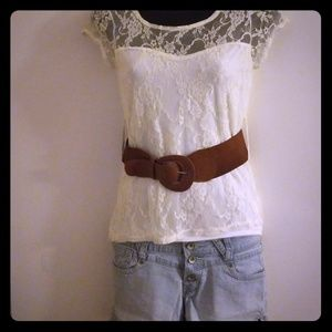 🌸Flowered laced blouse with trendy belt🌸